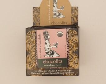 Raw Chocolate Moontime Rose Certified Organic Low-glycemic Vegan Fair-trade case (12 bars 35 grams each)