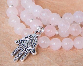 108 Mala Beads, Rose Quartz Mala Bracelet w Sterling Silver, Heart Chakra Necklace, Yoga Jewelry, Prayer Beads