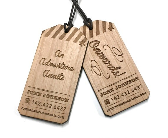 Items similar to Wood Luggage Tag \/ Custom Engraved Travel