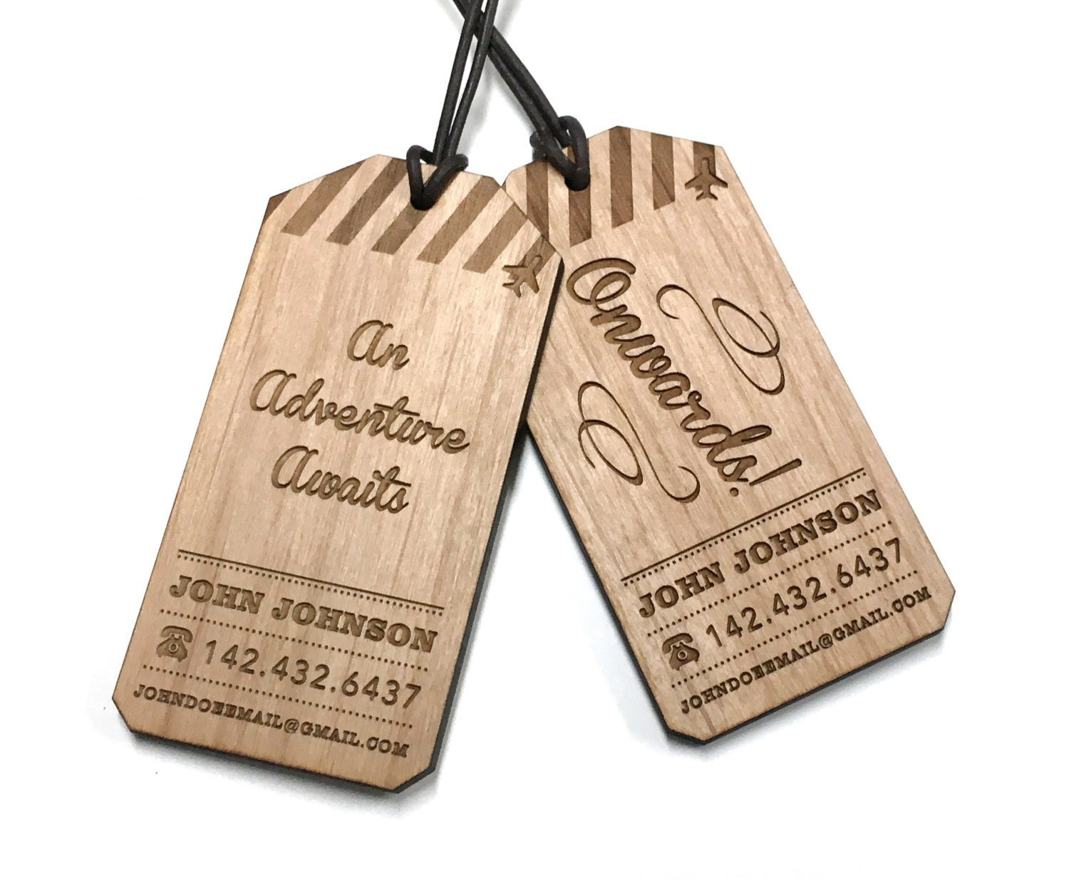 Luggage Tags: Wood Luggage Tag / Custom Engraved Travel Tag / By MileNine