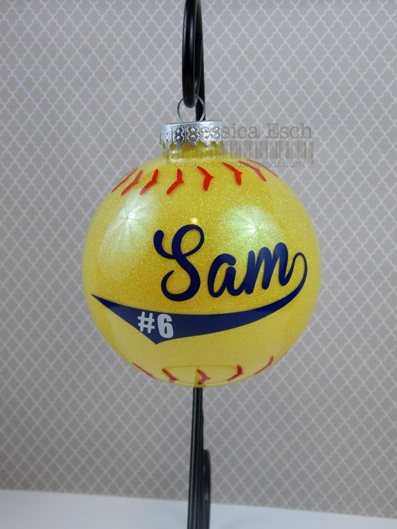 Softball Ornament Personalized 4 Circle Glass Ornament