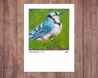 Bird Art Print, Matted to fit a 5x7 frame, Blue Jay