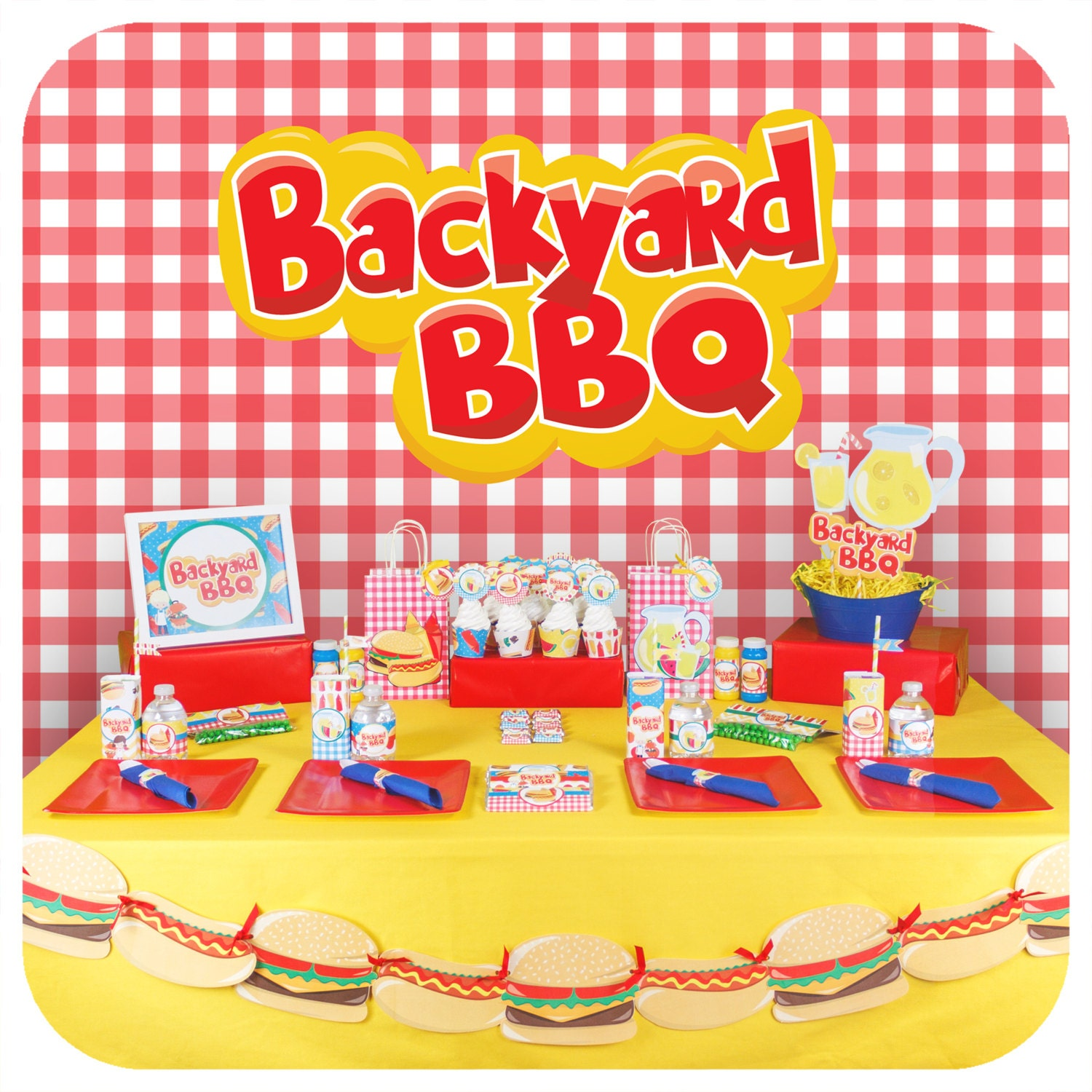 backyard bbq party background checkered background party