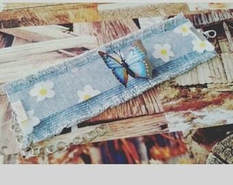 Boho bracelet with fine blue butterfly