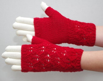 Lace red fingerless gloves, lace wool fingerless mitts, lace wrist warmers, phone plugging mittens, knitted arm warmers, Valentines gift