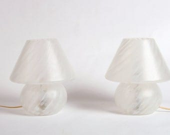 Two bedside lamps, 60s, glass, vintage, germany