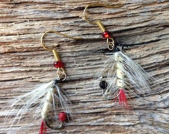 Fly fishing fly earrings: cream, black, and red fly earrings