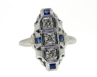 Art Deco Sapphire Ring, Vintage Sapphire & Diamond Engagement Ring, Edwardian Vintage Diamond Ring