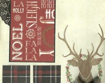 Tis the Season Deer - 2 page Scrapbooking Layout Kit
