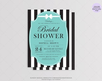 Breakfast at Tiffany's Bridal Shower Invitation Card - DIY Printable Digital File - Bachelorette Party