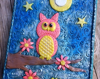 """Personalized Journal, Polymer Clay Journal """"Goodnight Owl"""" (DISPLAY), Personalized Sketchbook, Handmade Gift, OOAK, Customized Journal"""