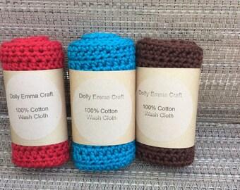 Wash Cloth, Spa Cloth, Eco Dishcloth, Dishrag, Dishcloth, Baby Wash Cloths, cotton Wash Cloths, Baby Wash Cloths -Set of 3