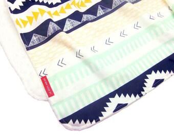 IN STOCK Minky Baby Blanket in Navy Aztec - Designer Fabric Boutique Minky Baby Blanket - arizona, southwest, native american, indian