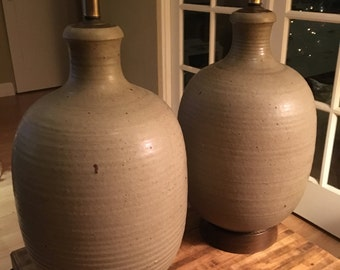 Pair of large studio pottery hand thrown grey speckled lamps believed to be from Bob Kinzie's Affiliated Craftsmen studio