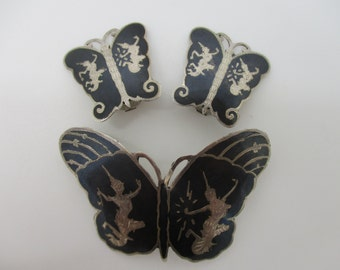 Sterling Silver Siam Thailand Nielloware Black Enamel Butterfly Brooch and Clip-On Earrings Set