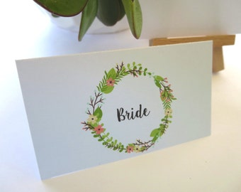 Boho Wedding Place Cards/ Name Cards/ Spring Floral Wreath Wedding