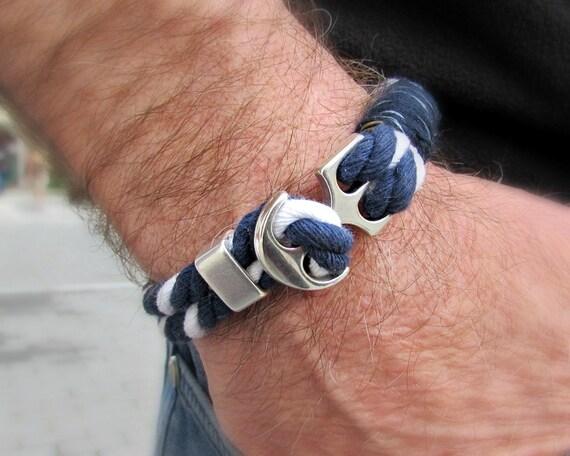 Mens Anchor Bracelet Nautical Rope bracelet Sailor Bracelet Sailing Bracelet Customized On Your Wrist