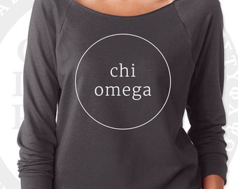 Chi Omega Pullover Sweater Yoga Shirt | Soft Lightweight Wide Crew Neck with Raw Edge for Layering | Chi Sorority Sweatshirt