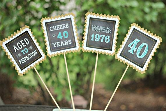 MASCULINE MILESTONE BIRTHDAY Party Centerpiece Sticks 40th Birthday
