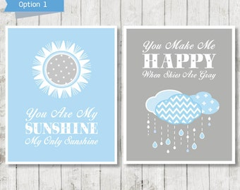 You Are My Sunshine, Blue Grey Nursery Art, Sunshine Wall Art, Boys Bedroom Decor, Boys Wall Art, Sunshine Print, Playroom Art