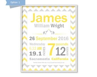 New Baby Birth Announcement, Custom Art Print, Nursery Birth Stats Print, Chevron Boy Nursery, Baby Subway Art, Yellow Gray Nursery