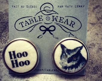 Black and white Owl earrings  by Tablewear -handmade in Canada