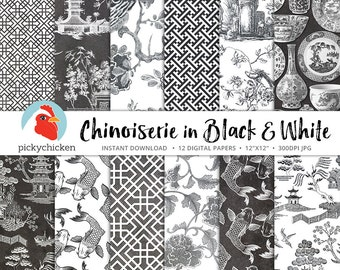 Chinoiserie Digital Paper, Chinese patterns, black & white paper, gray french chinoiserie photography backdrop 8090