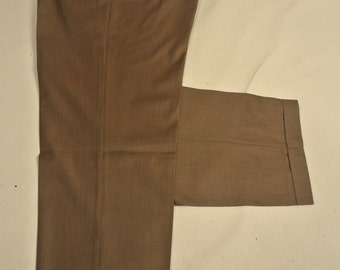 Santorelli Solid Brown 100% Worsted Wool Dress Pleat Trousers Men's Size: 39x31