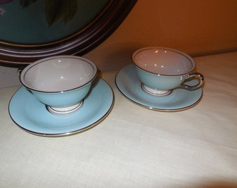 Castleton Cups and Saucers Turquoise CASTLETON TURQUOISE Castleton China