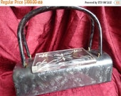 SALE VINTAGE Unique Shape Grey Pearlized LUCITE Purse with Clear Carved Lucite Lid B7