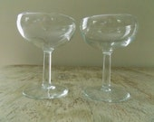 Vintage Mid Century Plain Flat Champagne Coupes Set of 2 | Clear Glass Smooth Stemmed Champagne Glasses
