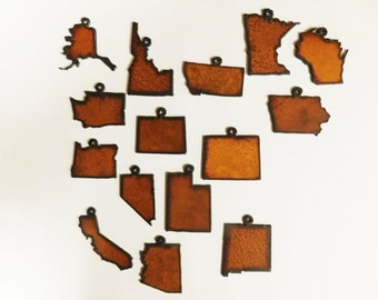 Rusty Metal (3) State Charm set of 3