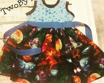 Children's solar system dress with knit bodice and full twirl skirt