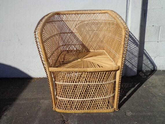 Vintage Rattan Chair Boho Chic Peacock Chair Fan Regency