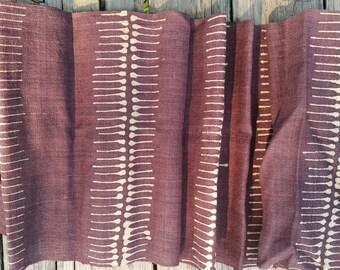 Hand woven hemp fabric with a batik design