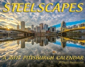 "Pittsburgh Skyline Steelscapes 11"" x 17"" Wall Calendar FREE SHIPPING JP Diroll Photography Steel City Photos Pictures"