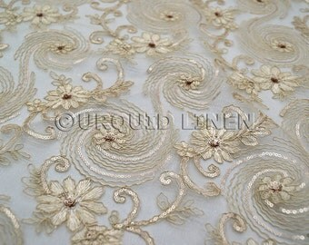 Jasmine Lace Fabric in Champagne - Bridal Lace Fabric w/ a Beautiful Sequins Embroidery Throughout - Perfect For Weddings and Special Events