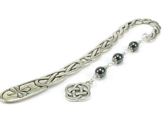 Celtic Style Bookmark Hematite Gemstones Black Beaded Book Mark