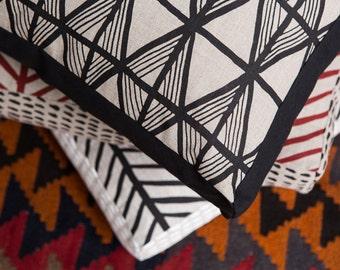 Toledo Black 45cm x 45cm box cushion - Hand screen printed