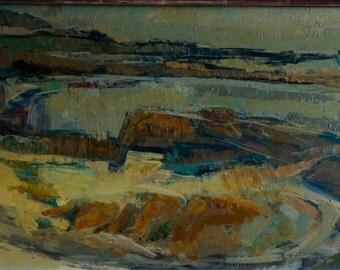 "Original French painting ""Léchiagat la plage"" by Robert Héraud (1924-2010)"