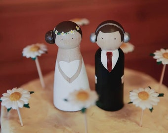 Custom personalised wooden wedding cake topper couple
