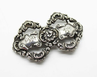 Amazing Art Deco Sterling Silver Repousse Buckle-Antique Estate Jewelry-Ornate Victorian!