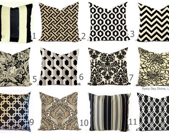 Outdoor Pillows or Indoor Custom Cover size include 16x16, 18x18 - Shades of Black, Ivory, Natural, Sand