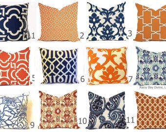 Outdoor Pillow Covers or Indoor Custom  - Navy Royal Blue Indigo Orange Tangerine Ivory 16x16, 18x18 modern ikat geometric