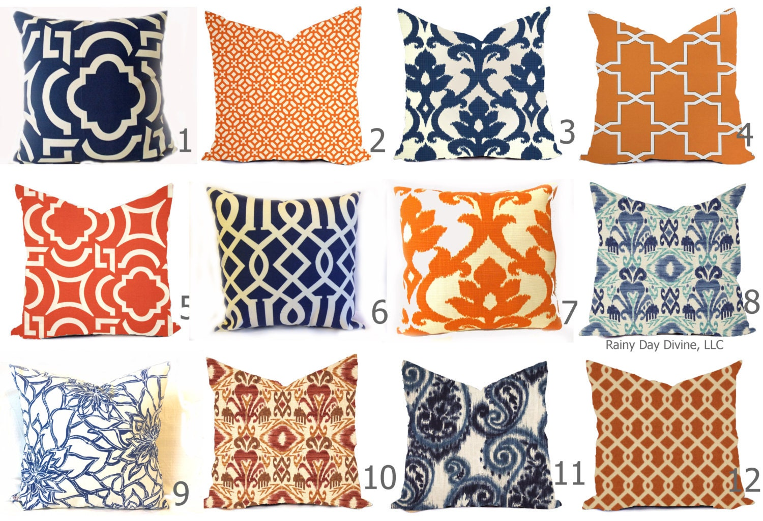 Outdoor Pillow Covers or Indoor Custom - Navy Royal Blue Indigo ...