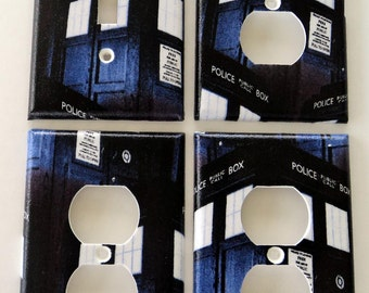 Dr. Who TARDIS Police Box Light Switch Plate Outlet Cover Bundle Set