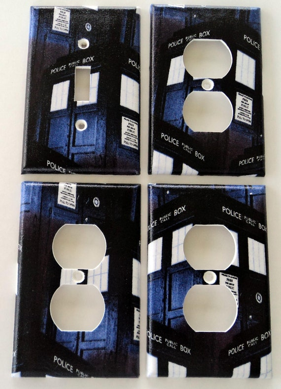 Dr who tardis police box light switch plate outlet cover for Tardis light switch cover