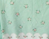 Full Flat Sheet ~ Mint Green, White, Dusty Pink Roses, Pearls, Vintage Floral Bedding ~ Double Bed Flowered