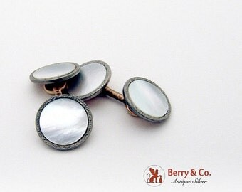 SaLe! sALe! Edwardian Round Cufflinks Gold Plated Mother Of Pearl 1920