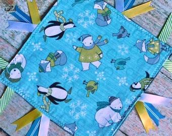 Baby Sensory Blanket – Ribbon Blanket – Ribbon Blankie – Minky Sensory Blanket - Sensory Blanket with Polar Bears
